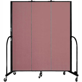 "Screenflex 3 Panel Portable Room Divider, 6'8""H x 5'9""L, Fabric Color: Mauve"