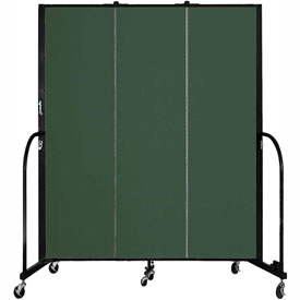"Screenflex 3 Panel Portable Room Divider, 6'8""H x 5'9""L, Fabric Color: Green"