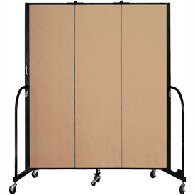 "Screenflex 3 Panel Portable Room Divider, 6'8""H x 5'9""L, Fabric Color: Wheat"