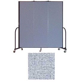 "Screenflex 3 Panel Portable Room Divider, 6'8""H x 5'9""L, Vinyl Color: Blue Tide"