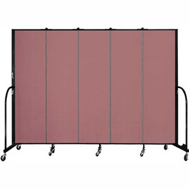 "Screenflex 5 Panel Portable Room Divider, 6'8""H x 9'5""L, Fabric Color: Rose"