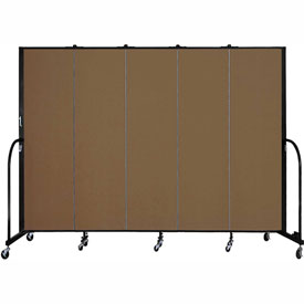 "Screenflex 5 Panel Portable Room Divider, 6'8""H x 9'5""L, Fabric Color: Walnut"
