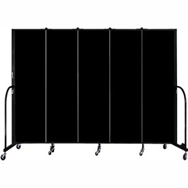 "Screenflex 5 Panel Portable Room Divider, 6'8""H x 9'5""L, Fabric Color: Charcoal Black"