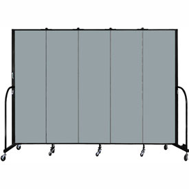 "Screenflex 5 Panel Portable Room Divider, 6'8""H x 9'5""L, Fabric Color: Grey Stone"