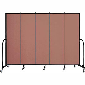 "Screenflex 5 Panel Portable Room Divider, 6'8""H x 9'5""L, Fabric Color: Cranberry"