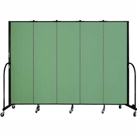 "Screenflex 5 Panel Portable Room Divider, 6'8""H x 9'5""L, Fabric Color: Sea Green"