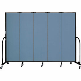 "Screenflex 5 Panel Portable Room Divider, 6'8""H x 9'5""L, Fabric Color: Blue"