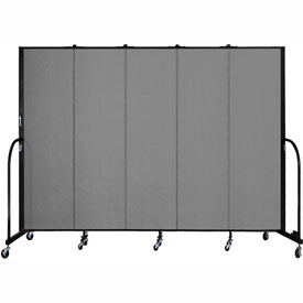 "Screenflex 5 Panel Portable Room Divider, 6'8""H x 9'5""L, Fabric Color: Grey"
