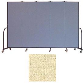 "Screenflex 5 Panel Portable Room Divider, 6'8""H x 9'5""L, Vinyl Color: Hazelnut"