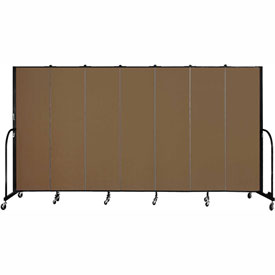 "Screenflex 7 Panel Portable Room Divider, 6'8""H x 13'1""L, Fabric Color: Walnut"