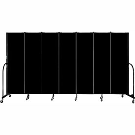 "Screenflex 7 Panel Portable Room Divider, 6'8""H x 13'1""L, Fabric Color: Charcoal Black"