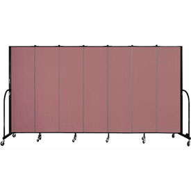 "Screenflex 7 Panel Portable Room Divider, 6'8""H x 13'1""L, Fabric Color: Mauve"