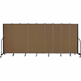 "Screenflex 9 Panel Portable Room Divider, 6'8""H x 16'9""L, Fabric Color: Walnut"