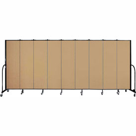 "Screenflex 9 Panel Portable Room Divider, 6'8""H x 16'9""L, Fabric Color: Sand"
