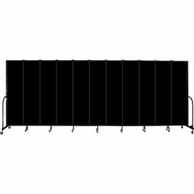 "Screenflex 11 Panel Portable Room Divider, 7'4""H x 20'5""L, Fabric Color: Charcoal Black"