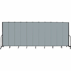 "Screenflex 11 Panel Portable Room Divider, 7'4""H x 20'5""L, Fabric Color: Grey Stone"