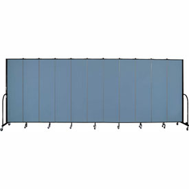 "Screenflex 11 Panel Portable Room Divider, 7'4""H x 20'5""L, Fabric Color: Blue"