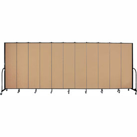 "Screenflex 11 Panel Portable Room Divider, 7'4""H x 20'5""L, Fabric Color: Wheat"
