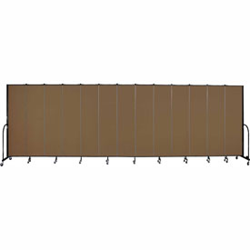 "Screenflex 13 Panel Portable Room Divider, 7'4""H x 24'1""L, Fabric Color: Walnut"