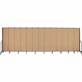 "Screenflex 13 Panel Portable Room Divider, 7'4""H x 24'1""L, Fabric Color: Desert"