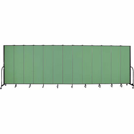 "Screenflex 13 Panel Portable Room Divider, 7'4""H x 24'1""L, Fabric Color: Sea Green"