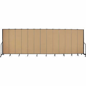 "Screenflex 13 Panel Portable Room Divider, 7'4""H x 24'1""L, Fabric Color: Sand"
