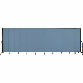 "Screenflex 13 Panel Portable Room Divider, 7'4""H x 24'1""L, Fabric Color: Blue"