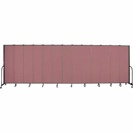 "Screenflex 13 Panel Portable Room Divider, 7'4""H x 24'1""L, Fabric Color: Mauve"