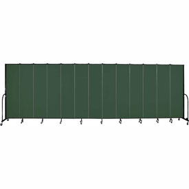 "Screenflex 13 Panel Portable Room Divider, 7'4""H x 24'1""L, Fabric Color: Green"