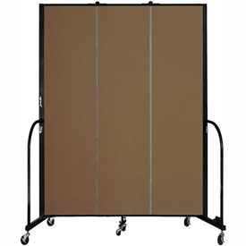 "Screenflex 3 Panel Portable Room Divider, 7'4""H x 5'9""L, Fabric Color: Walnut"