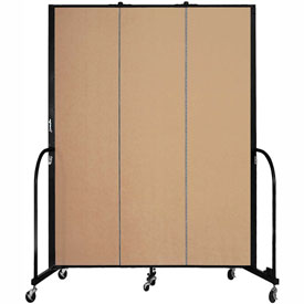 "Screenflex 3 Panel Portable Room Divider, 7'4""H x 5'9""L, Fabric Color: Desert"