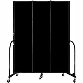 "Screenflex 3 Panel Portable Room Divider, 7'4""H x 5'9""L, Fabric Color: Charcoal Black"
