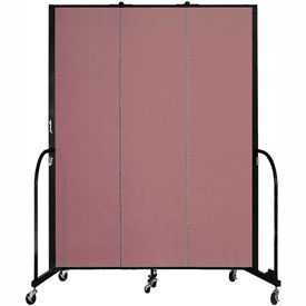 "Screenflex 3 Panel Portable Room Divider, 7'4""H x 5'9""L, Fabric Color: Mauve"