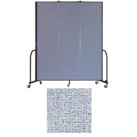 "Screenflex 3 Panel Portable Room Divider, 7'4""H x 5'9""L, Vinyl Color: Blue Tide"
