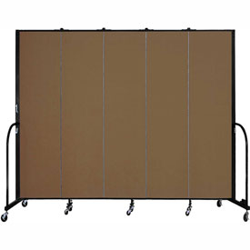 "Screenflex 5 Panel Portable Room Divider, 7'4""H x 9'5""L, Fabric Color: Oatmeal"