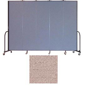 "Screenflex 5 Panel Portable Room Divider, 7'4""H x 9'5""L, Vinyl Color: Raspberry Mist"