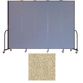 "Screenflex 5 Panel Portable Room Divider, 7'4""H x 9'5""L, Vinyl Color: Sandalwood"
