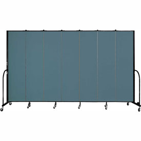 "Screenflex 7 Panel Portable Room Divider, 7'4""H x 13'1""L, Fabric Color: Lake"