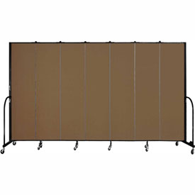 "Screenflex 7 Panel Portable Room Divider, 7'4""H x 13'1""L, Fabric Color: Walnut"