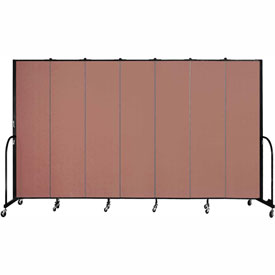 "Screenflex 7 Panel Portable Room Divider, 7'4""H x 13'1""L, Fabric Color: Cranberry"
