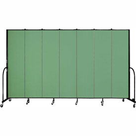 "Screenflex 7 Panel Portable Room Divider, 7'4""H x 13'1""L, Fabric Color: Sea Green"