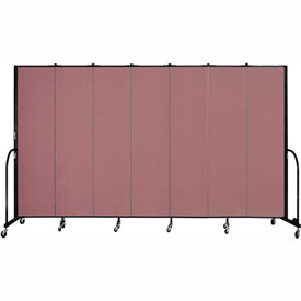 "Screenflex 7 Panel Portable Room Divider, 7'4""H x 13'1""L, Fabric Color: Mauve"