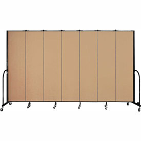 "Screenflex 7 Panel Portable Room Divider, 7'4""H x 13'1""L, Fabric Color: Wheat"