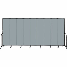 "Screenflex 9 Panel Portable Room Divider, 7'4""H x 16'9""L, Fabric Color: Grey Stone"