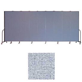 "Screenflex 9 Panel Portable Room Divider, 7'4""H x 16'9""L, Vinyl Color: Blue Tide"