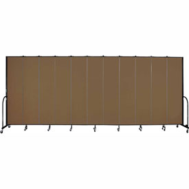 "Screenflex 11 Panel Portable Room Divider, 8'H x 20'5""L, Fabric Color: Walnut"