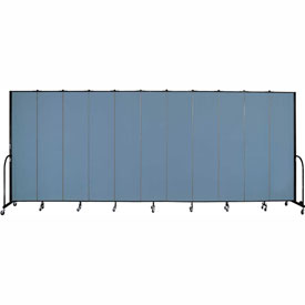 "Screenflex 11 Panel Portable Room Divider, 8'H x 20'5""L, Fabric Color: Summer Blue"