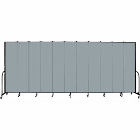 "Screenflex 11 Panel Portable Room Divider, 8'H x 20'5""L, Fabric Color: Grey Stone"