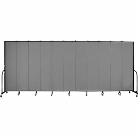 "Screenflex 11 Panel Portable Room Divider, 8'H x 20'5""L, Fabric Color: Grey"