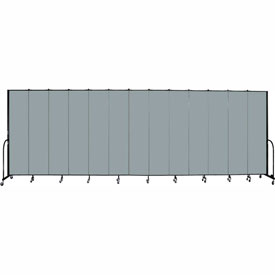 "Screenflex 13 Panel Portable Room Divider, 8'H x 24'1""L, Fabric Color: Grey Stone"